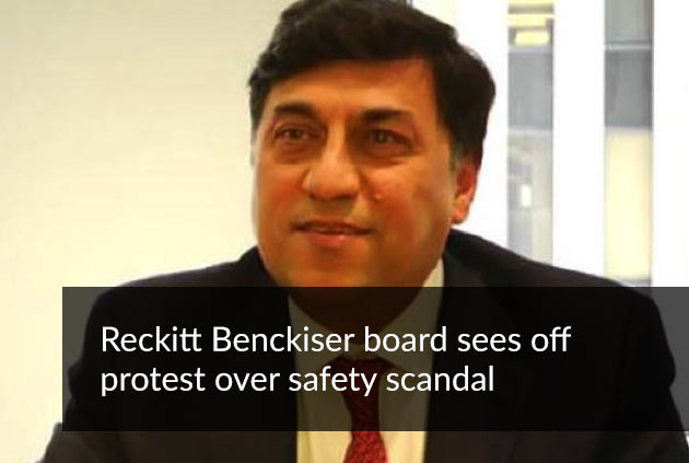 Reckitt Benckiser board sees off protest over safety scandal